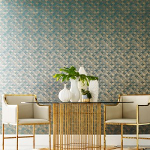 Y6230204 York Wallcovering Antonina Vella Natural Opalescence Mermaid Scales Wallpaper Teal Gold Room Setting