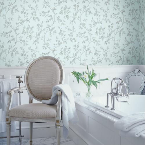 2814-24975 Brewster Wallcovering Advantage Bath Aaron Bird Trail Wallpaper Light Blue Room Setting