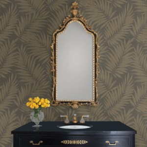 2814-527575 Brewster Wallcovering Advantage Bath Edomina Palm Wallpaper Dark Brown Room Setting