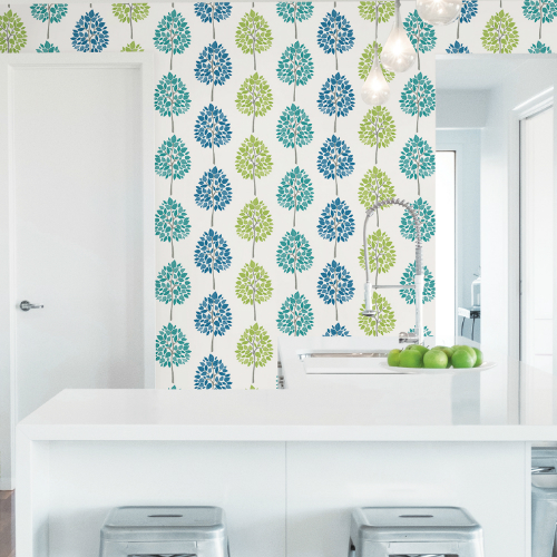 2813-24969 Brewster Wallcovering Advantage Kitchen Tsai Tree Wallpaper Multi-Color Room Setting