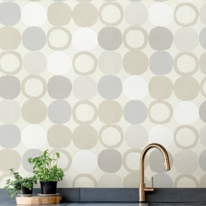 2813-805109 Brewster Wallcovering Advantage Kitchen Beard Geometric Wallpaper Light Grey Room Setting