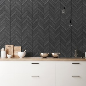 2835-42418 Brewster Wallcovering Advantage Deluxe Punta Mita Chevron Wallpaper Charcoal Room Setting