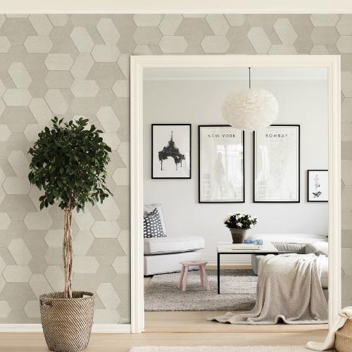 2835-C88604 Brewster Wallcovering Advantage Plaza Geometric Wallpaper Cream Room Setting