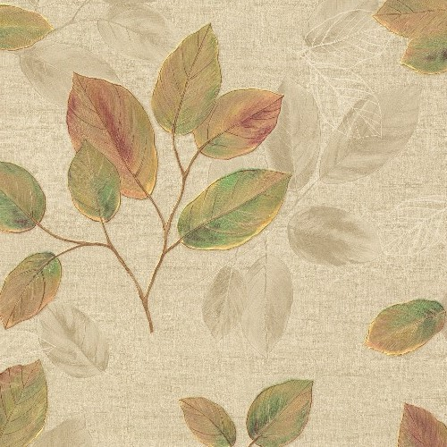 2835-DI40402 Brewster Wallcovering Advantage Deluxe Dorado Leaf Toss Wallpaper Green