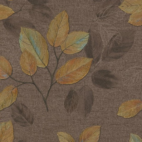 2835-DI40403 Brewster Wallcovering Advantage Deluxe Dorado Leaf Toss Wallpaper Brown