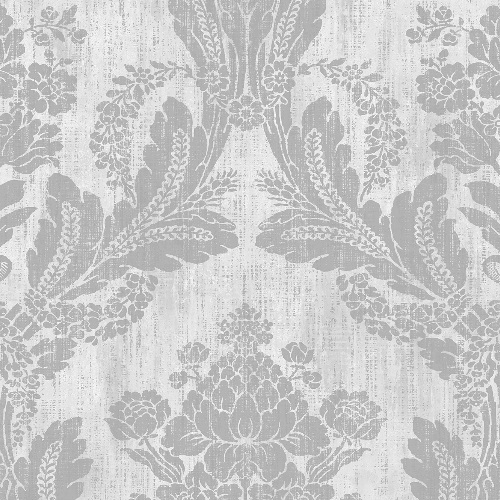 2835-M1409 Brewster Wallcovering Advantage Deluxe Zemi Damask Wallpaper Ivory