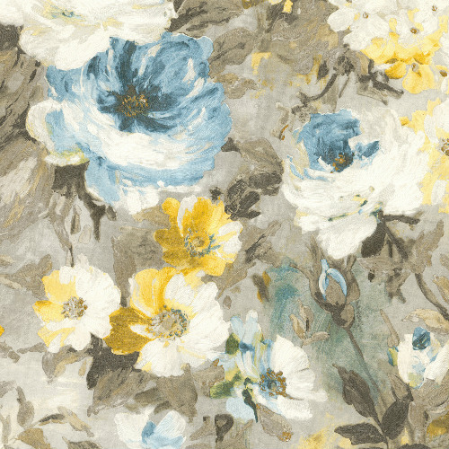 2835-SY5112P Brewster Wallcovering Advantage Deluxe Macau Painterly Floral Wallpaper Blue