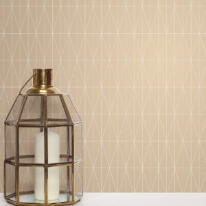 2889-25214 Brewster Wallcovering A Street Prints Terence Conran Plain Simple Useful Tofta Geometric Wallpaper Beige Room Setting