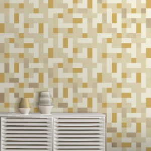 2889-25223 Brewster Wallcovering A Street Prints Terence Conran Alby Geometric Wallpaper Multi-color Room Setting