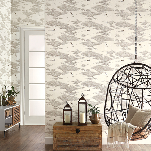 NR1504 York Wallcovering Norlander Wild Tundra Wallpaper Brown Room Setting