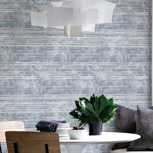 2838-IH2255 Brewster Wallcovering Decorline Vista Makayla Distressed Stripe Wallpaper Blue Room Setting