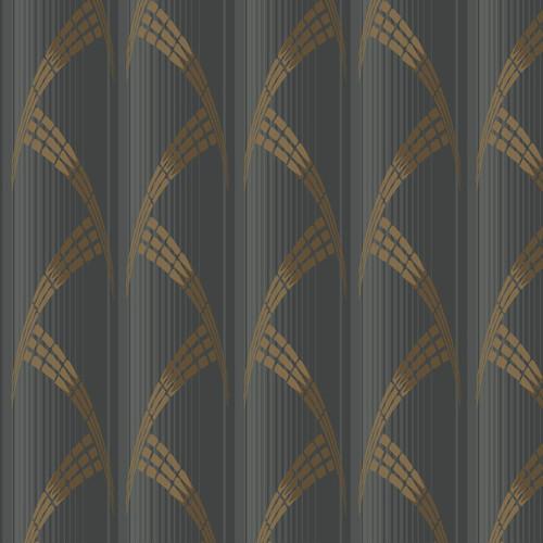 CA1581 York Wallcovering Antonina Vella Deco Metropolis Wallpaper Black