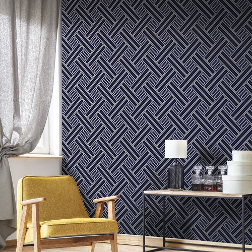 GX37602 Patton Wallcovering Norwall GeometriX Rectangles Wallpaper Navy Room Setting