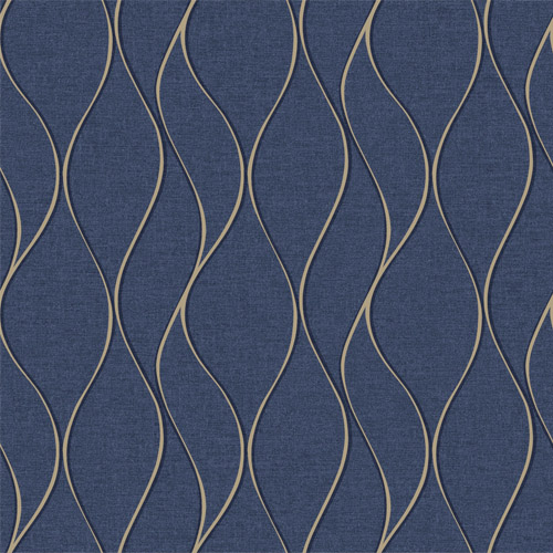 RMK11293WP York Wallcovering RoomMates Wave Ogee Peel and Stick Wallpaper Navy