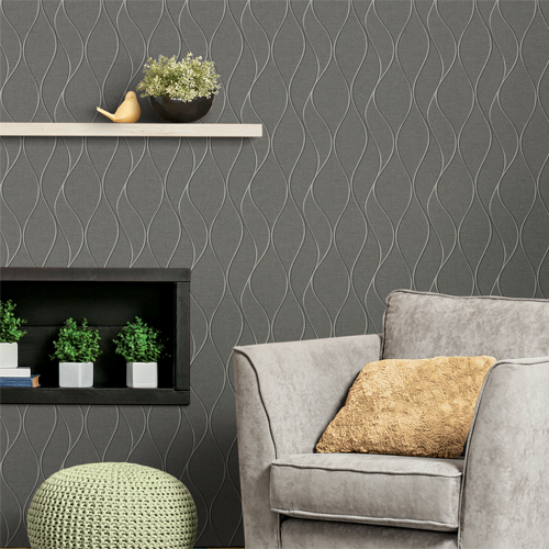 RMK11294WP York Wallcovering RoomMates Wave Ogee Peel and Stick Wallpaper Grey Family Room Setting
