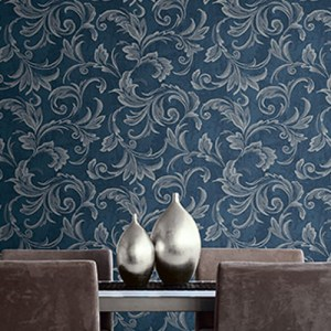 2010102 Seabrook Wallcovering Etten Gallerie Aura Acanthus Wallpaper Blue Room Setting