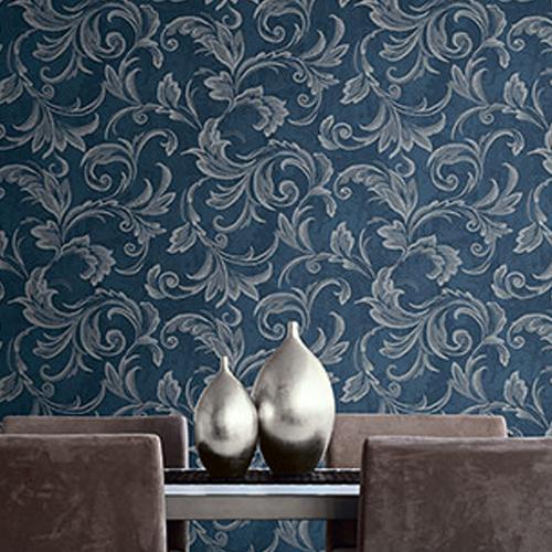 2010102 Seabrook Wallcovering Etten Gallerie Aura Acanthus Wallpaper Blue Room Setting