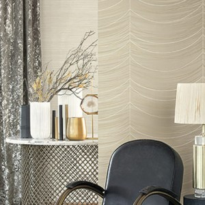 2010606 Seabrook Wallpaper Etten Gallerie Aura Pearl Draper Wallpaper Taupe Room Setting