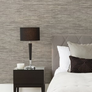2829-80046 Brewster A Street Prints Fibers Cavite Grasscloth Wallpaper Grey Room Setting
