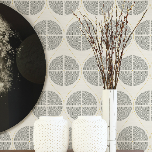 2901-25425 Brewster Wallcovering A Street Prints Perennial Luminary Ogee Wallpaper Grey Room Setting