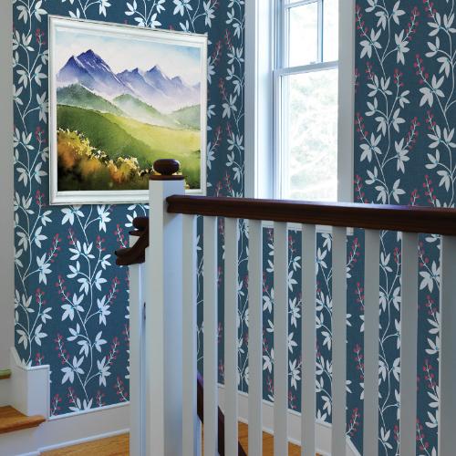 2901-25438 Brewster Wallcovering A Street Prints Perennial Linnea Elsa Botanical Trail Wallpaper Navy Room Setting