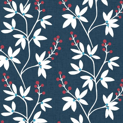 2901-25438 Brewster Wallcovering A Street Prints Perennial Linnea Elsa Botanical Trail Wallpaper Navy