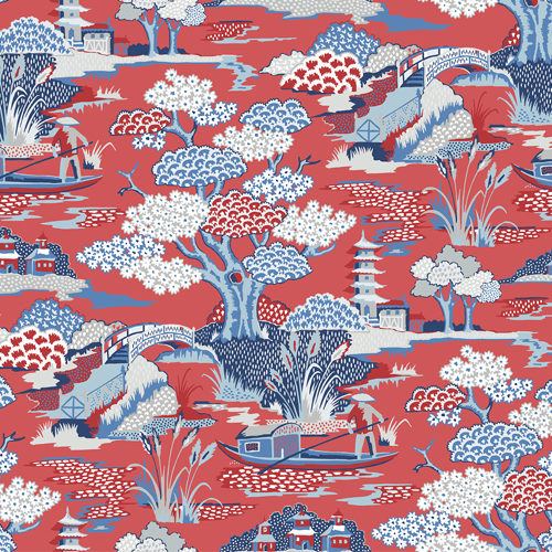 2901-87509 Brewster Wallcovering A Street Prints Perennial Joy De Vie Toile Wallpaper Red