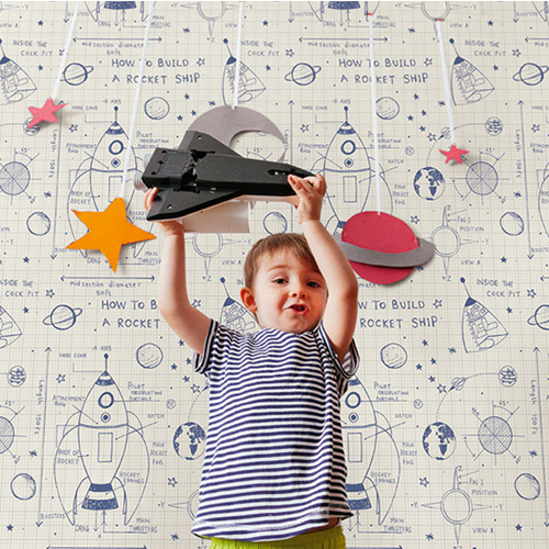 DA60702 Seabrook Wallcovering Day Dreamers Rocket Ship Wallpaper Navy Room Setting