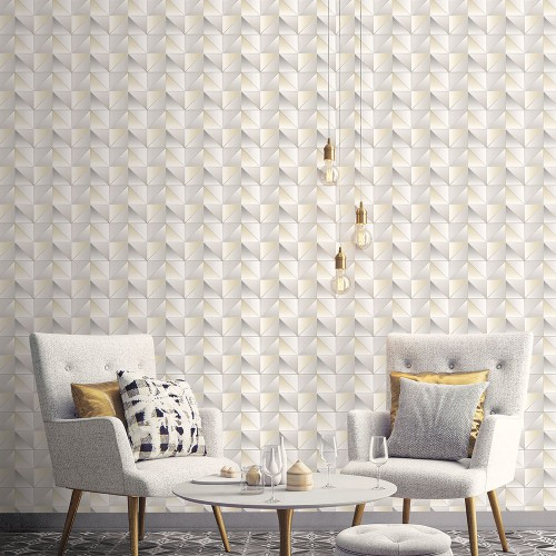 GX37631 Patton Wallcovering Norwall GeometriX Cubist Wallpaper Yellow Room Setting