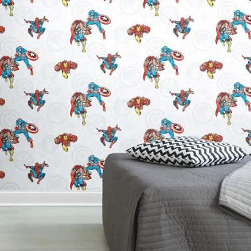 RMK11167RL York Wallcoverings RoomMates Marvel Comics Classic Peel and Stick Wallpaper Bedroom Setting
