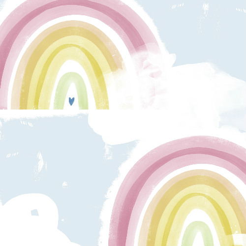 DA60202 Seabrook Wallcovering Day Dreamers Rainbow Wallpaper Pastel