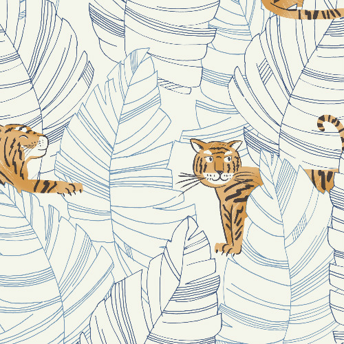 DA61202 Seabrook Wallcovering Day Dreamers Jungle Tiger Wallpaper Blue