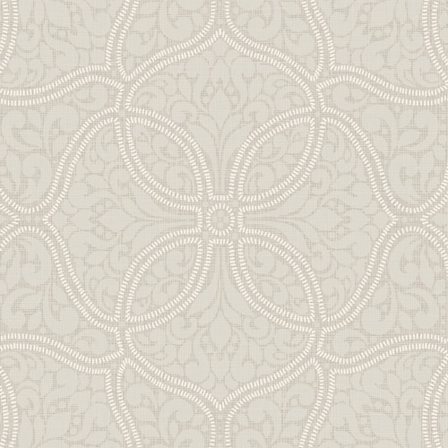2010707 Seabrook Wallcovering Etten Gallerie Aura Embroidered Filigree Trellis Wallpaper Grey