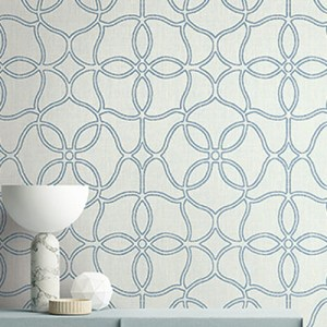 2011502 Seabrook Wallcovering Etten Gallerie Aura Embroidered Trellis Wallpaper Blue Room Setting