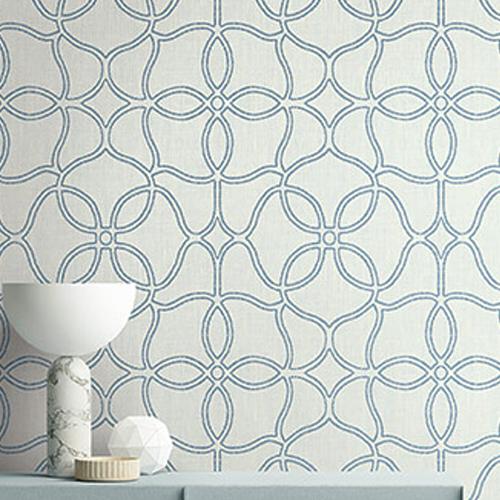 2011502 Seabrook Wallcovering Etten Gallerie Aura Embroidered Trellis Wallpaper Blue Room Setting