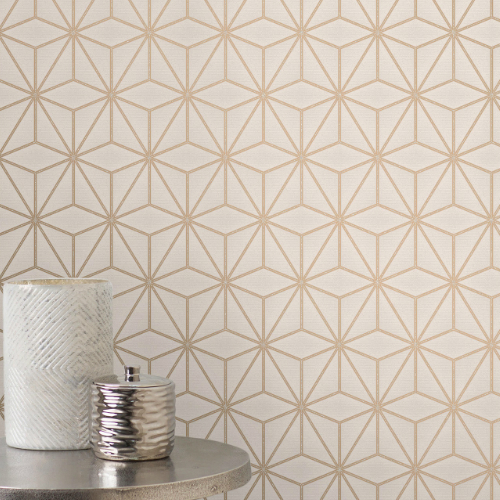 2834-42346 Brewster Wallcovering Advantage Metallic Augustin Geometric Wallpaper Rose Gold Room Setting