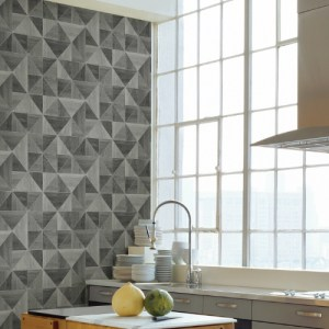 2836-24963 Brewster Wallcovering Advantage Shades of Grey Corin Wood Geometric Wallpaper Grey Room Setting
