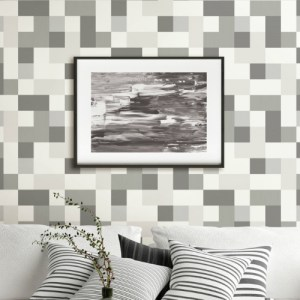 2836-24998 Brewster Wallcovering Advantage Shade of Grey Laurence Geometric Wallpaper Room Setting