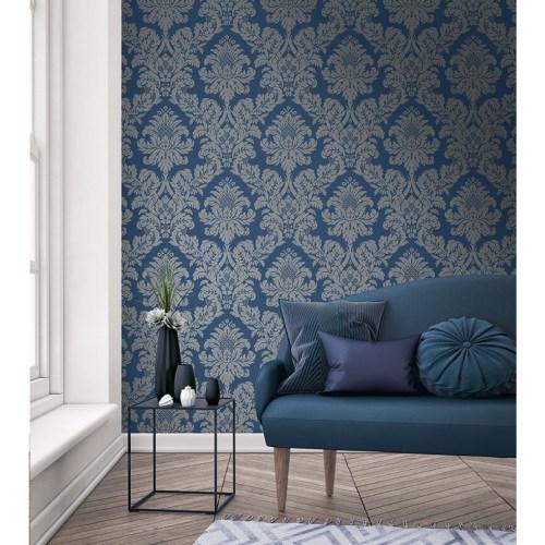UK10457 Seabrook Wallcovering Pear Tree Studio Shimmer Glitter Damask Wallpaper Blue Room Setting