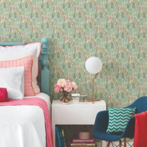 SP1411 York Wallcoverings Small Prints Leaf Life Wallpaper Taupe Room Setting
