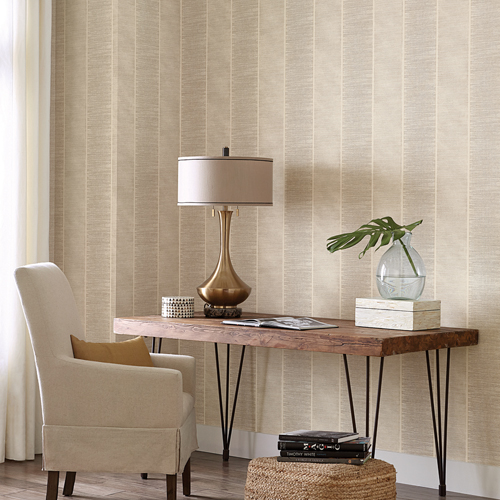 SR1525 York Wallcovering Stripes Resource Library Southwest Stripe Wallpaper Tan Room Setting
