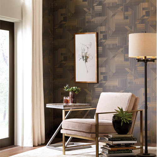 SR1536 York Wallcovering Stripes Resource Library All Lined Up Wallpaper Black Gold Room Setting