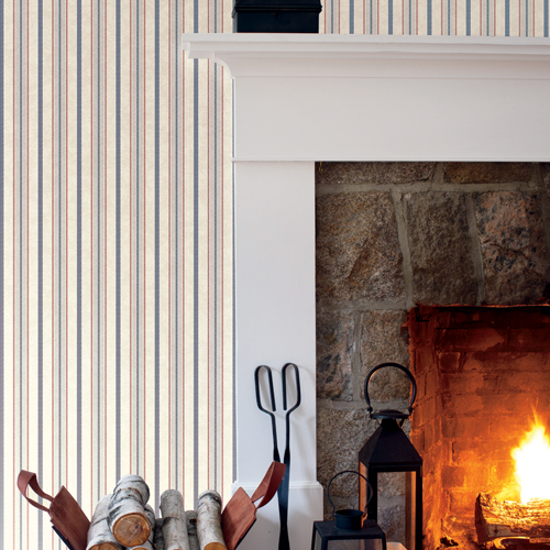SR1553 York Wallcovering Stripes Resource Library Shirting Stripe Wallpaper Red Blue Glint Room Setting