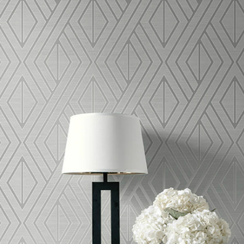 UK30507 Seabrook Wallcovering Pear Tree Studio Shimmer Abstract Diamond Wallpaper Grey Room Setting