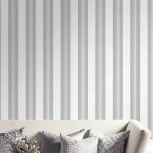 UK30900 Seabrook Wallcovering Pear Tree Studio Shimmer Glitter Stripe Wallpaper White Living Room Setting