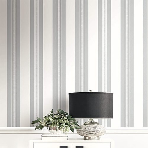UK30900 Seabrook Wallcovering Pear Tree Studio Shimmer Glitter Stripe Wallpaper White Room Closeup