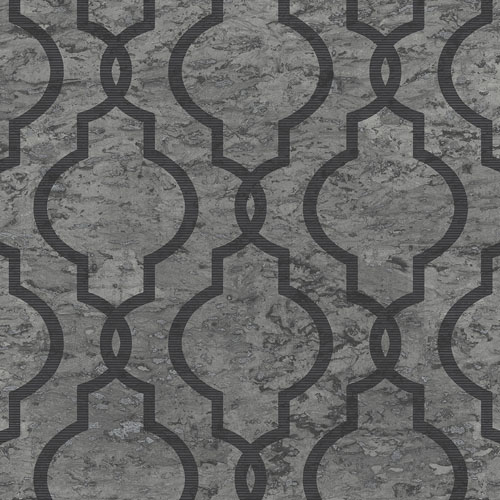 UK20920 Seabrook Wallcovering Pear Tree Studios Shimmer Faux Cork Trellis Wallpaper Charcoal