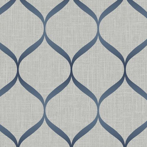 UK21212 Seabrook Wallcovering Pear Tree Studio Shimmer Trellis Ogee Wallpaper Grey