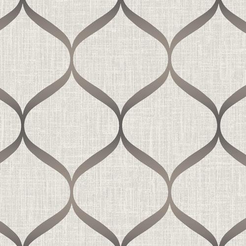UK21216 Seabrook Wallcovering Pear Tree Studio Shimmer Trellis Ogee Wallpaper Khaki