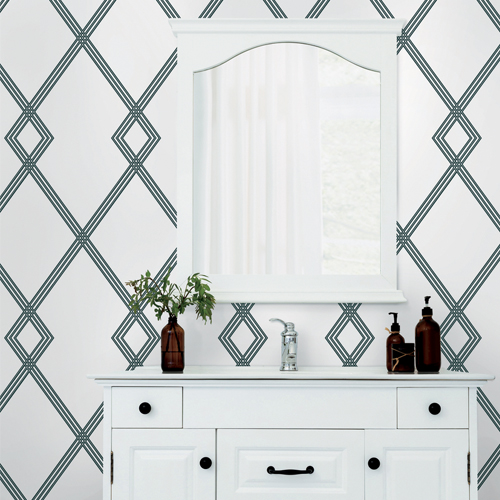 CY1509 York Wallcovering Conservatory Ribbon Stripe Trellis Wallpaper White Black Room Setting